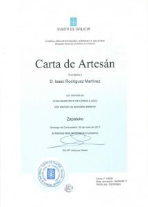 CARTA DE ARTESANO ISAAC